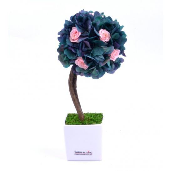 Stromeček hortenzie a růže I (Originální stromeček ze stabilizovaných rostlin)