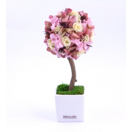 Stromeček hortenzie a růže VI (Originální stromeček ze stabilizovaných rostlin)